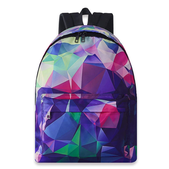 Boys Girls School Backpack Geometric Diamond Printed Rucksack Lightweight