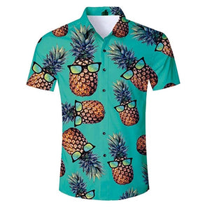 Men's 3D Printing Blouse Pineapple Glasses Printed Shirt