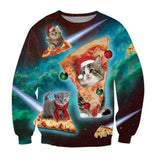 Ugly Cat Eat Pizza Shirt Women Men Christmas Pullover