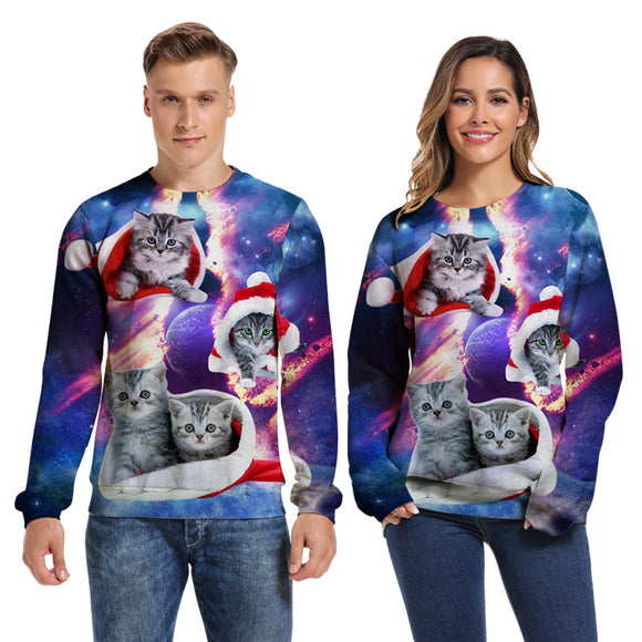 Mens Pullover Sweatshirt 3D Printed Merry Christmas Four Cat Long Sleeve Shirts