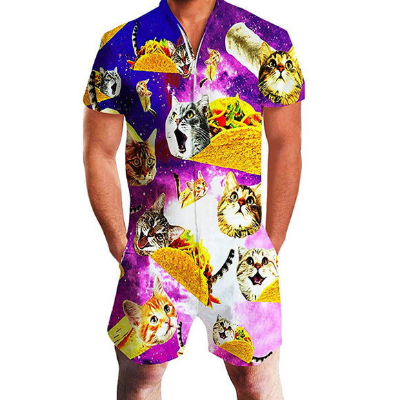 Mens Rompers Taco Pizza Cat Printing Jumpsuit