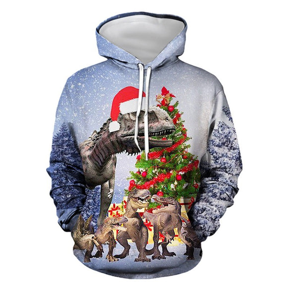 Mens Hoodies 3D Graphic Printed Merry Christmas Dinosaur Pullover Hoodie