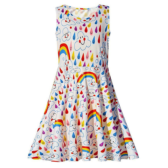 Girls Rainbow and Emoji Sleeveless Dress