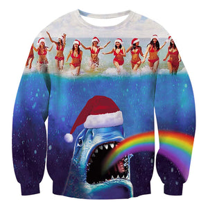 Christmas Pullover Sweatshirts Ugly Sweater Shark Rainbow Shirts