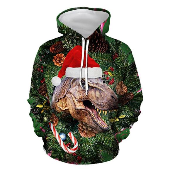 Mens Hoodies 3D Graphic Printed Ugly Christmas Dinosaur Pullover