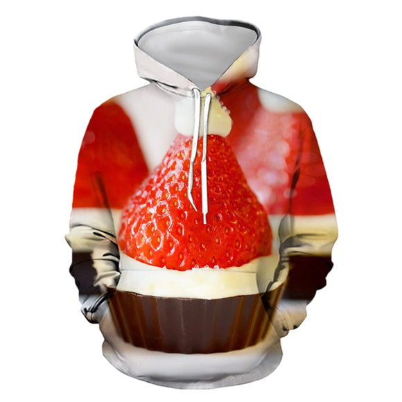 Mens Hoodies 3D Graphic Printed Christmas Strawberry Cake Pullover