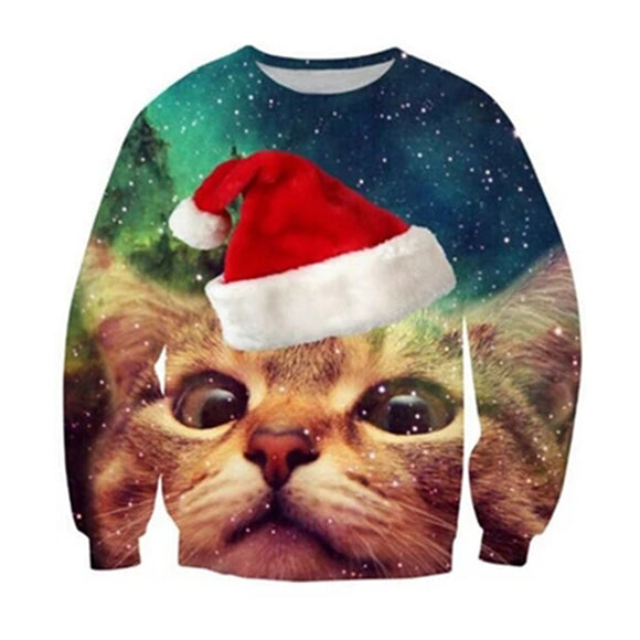 Cute Christmas Cat Sweater Shirt X-mas Party Pullover Sweatshirt