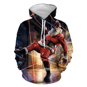 Mens Hoodies 3D Graphic Printed Clownish Santa Claus Pullover