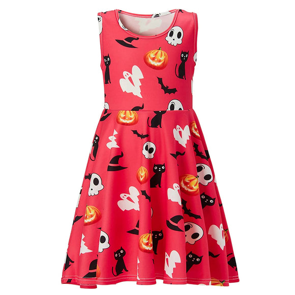 Girl's A Line Ghost Printed Halloween Dress