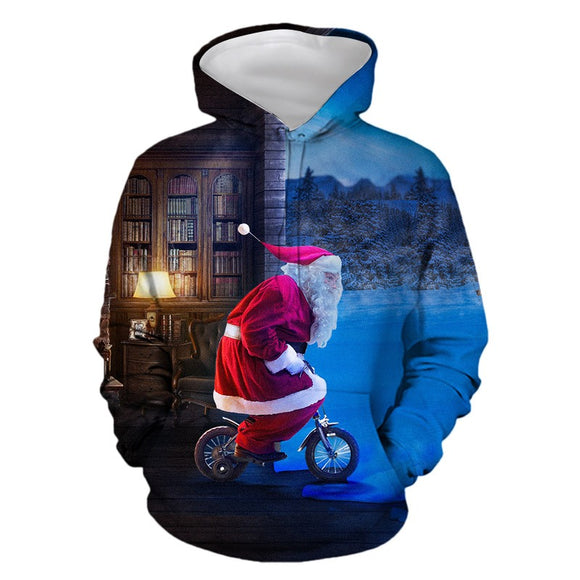 Mens Hoodies 3D Graphic Printed Santa Claus Gives Gifts Pullover