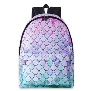 Bookbags for Girls Mermaid Fish Scale Printed School Backpack