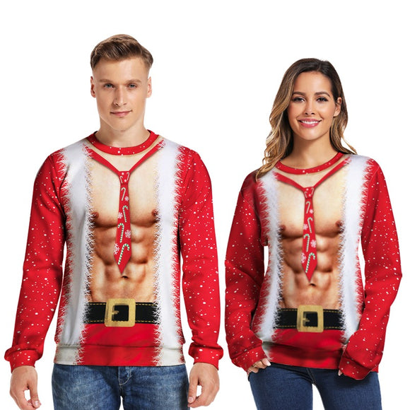 Mens Pullover Sweatshirt 3D Printed Christmas Muscle Red Long Sleeve Shirts