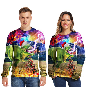 Mens Pullover Sweatshirt 3D Printed Christmas Ugly Dinosaur Long Sleeve Colorful Shirts