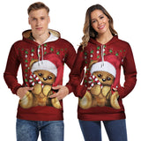 Mens Hoodies 3D Graphic Printed Christmas Bear Red Pullover Hoodie