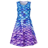 Girls 3D Printing Dress Fish Scale Pattern Sleeveless