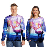 Mens Pullover Sweatshirt 3D Printed Christmas Dreamlike Deer Long Sleeve Shirts