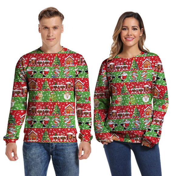 Mens Pullover Sweatshirt 3D Printed Merry Christmas Snowflake Long Sleeve Shirts