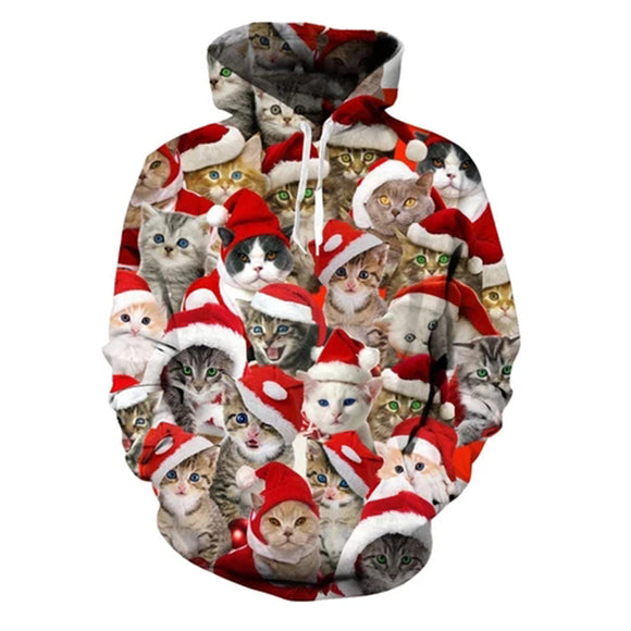 Mens Hoodies 3D Printing Santa Cat Printed Pattern Hooded