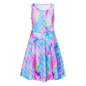 Girls 3D Printing Dress Colorful Fish Scale Pattern Sleeveless