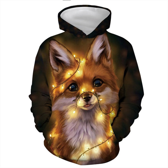Mens Hoodies 3D Graphic Printed Christmas Fantasy Dog Pullover Hoodie