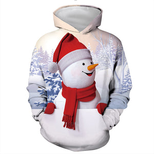 Mens Hoodies 3D Graphic Printed Christmas Snowman White Pullover Hoodie