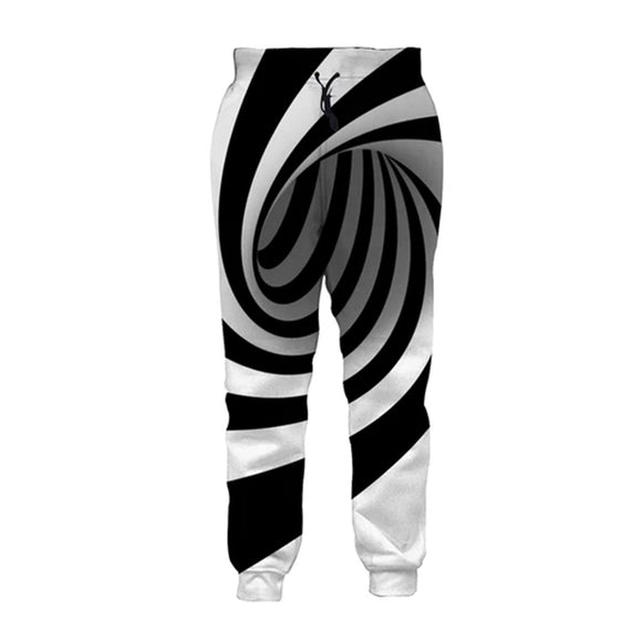 Mens Jogger Pants 3D Printing White Circle Pattern Trousers