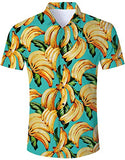 Men's Hawaiian Shirt Green Banana