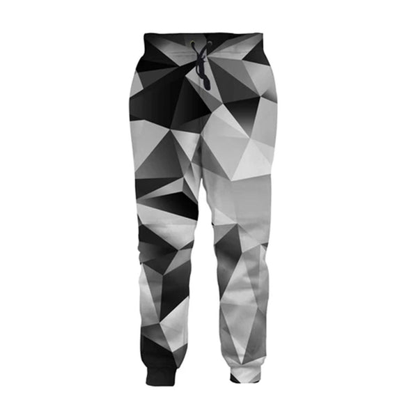 Mens Jogger Pants 3D Printing with Black White Diamond Pattern
