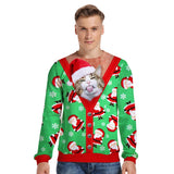 Mens Pullover Sweatshirt 3D Printed Christmas Cute Cat Long Sleeve Shirts