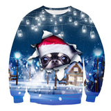 Mens Pullover Sweatshirt 3D Printed Christmas Curious Dog Long Sleeve Shirts