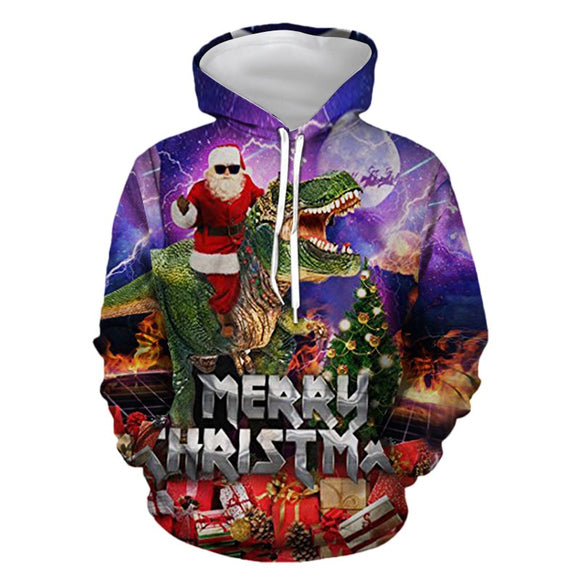 Mens Hoodies 3D Graphic Printed Christmas Dinosaur Pullover Hoodie