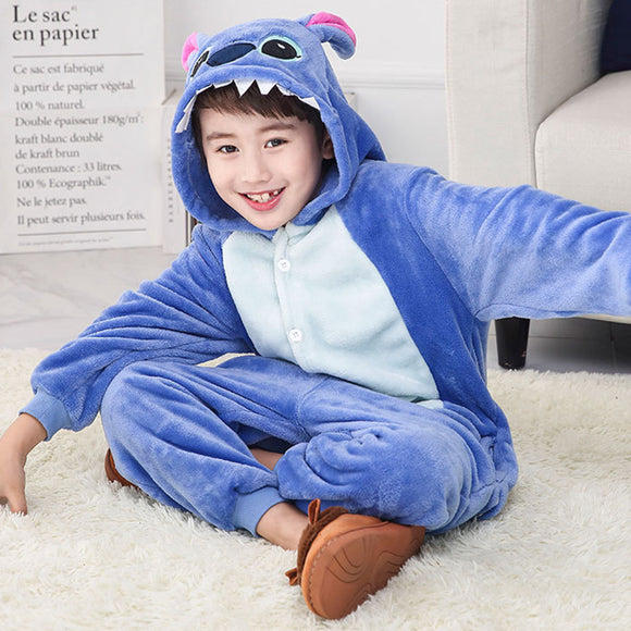 Child Romper Blue Cartoon Costume for Kids Onesie Pajamas for Girls Boys