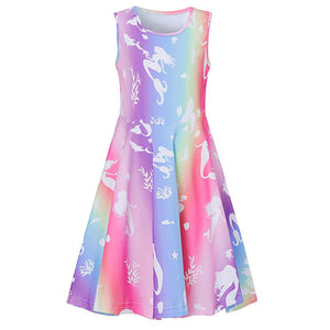 Kids Girls Pink Mermaid Midi Dress