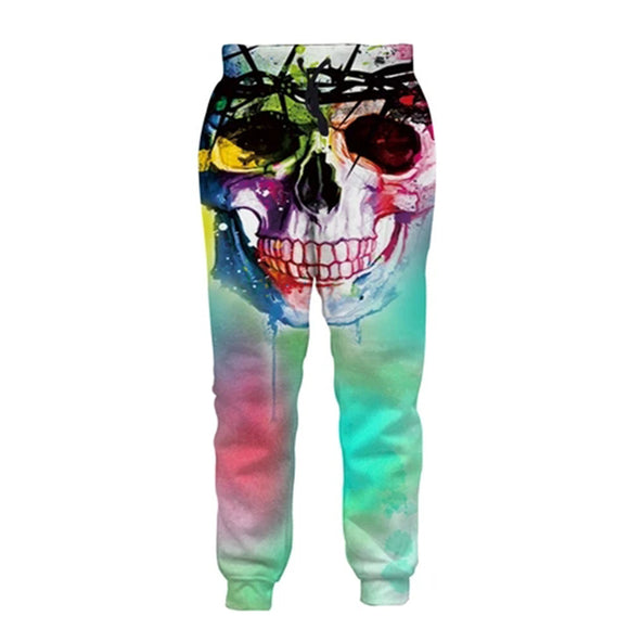 Mens Jogger Pants 3D Printing Skull Pattern Trousers