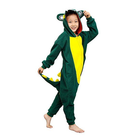 Kids Unisex Onesie Cosplay Pajamas Lovely Green Crocodile Costume