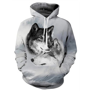 Mens Hoodies 3D Printing Hooded Double Wolf Printed Pattern