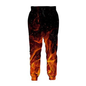 Mens Jogger Pants 3D Printing Burning Flame Pattern