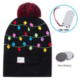 LED Light-up Knitted Ugly Sweater Holiday Hat Lets GET LIT Xmas Christmas Beanies for Party