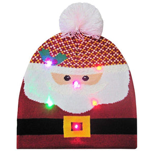 2019 Christmas Hats Men Women Funny Santa Claus Printed Knitted Light Hat Cuff Knit Pom Cap