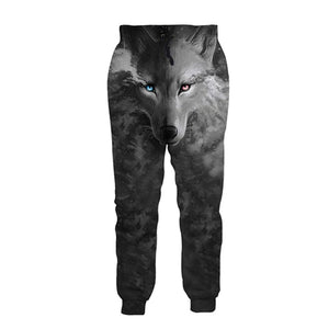 Mens Jogger Pants 3D Printing Grey Wolf Pattern Trousers