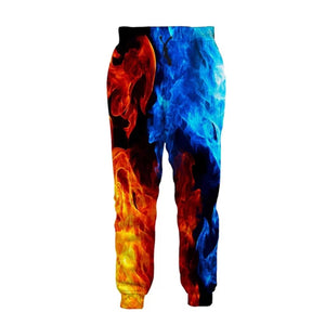 Mens Jogger Pants 3D Printing Coloful Burning Flame Pattern