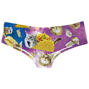 Womens Taco Cat Pussycat Underwears Panty Beathable Moisture Wicking Lingerie Briefs