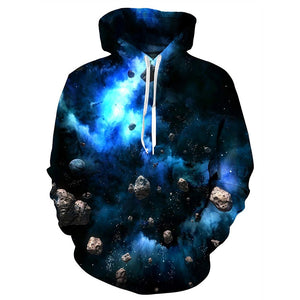 Mens Hoodies 3D Printing Hooded Blue Galaxy Printed Pattern