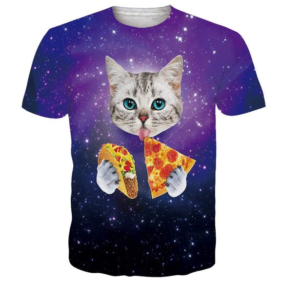 Mens T Shirts Galaxy Pizza Cat Printing Tee