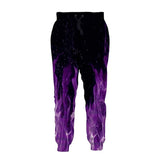 Mens Jogger Pants 3D Printing Flame Pattern Trousers