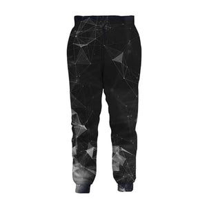 Mens Jogger Pants 3D Printing Diamond Geometry Pattern Trousers