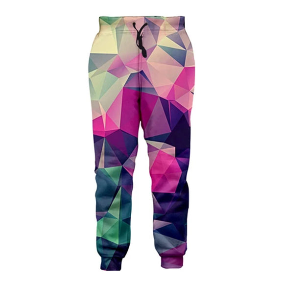 Mens Jogger Pants 3D Printing Colorful Geometric Pattern Trousers