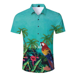 Mens 3D Printing Blouse Parrot in Floral Printed Shirt
