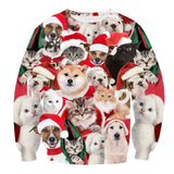 Mens Pullover Sweatshirt 3D Printed Christmas Dogs Cats Party Long Sleeve Shirts