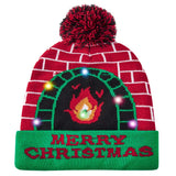 Light Up Hat Merry Christmas Flame Printed Flashing Beanie Cap Winter Snow Sweater Ugly Hat Beanies